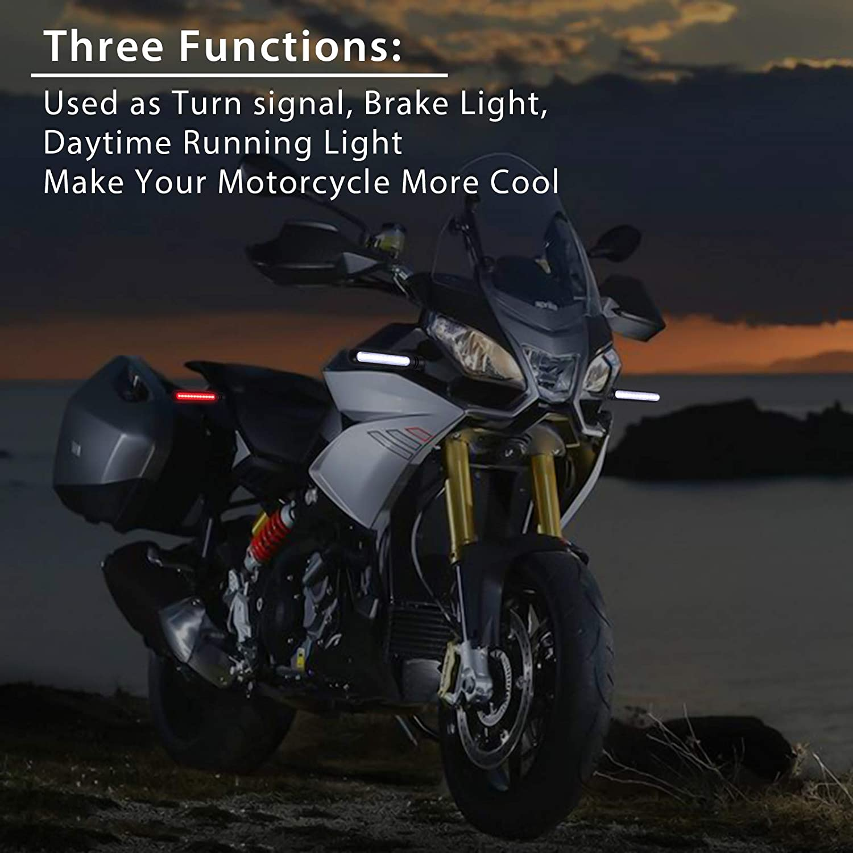 Justech 4pcs Flowing Motorbike Turn Signal Lights Flashing Turning Indicators for Motorcycle Scooter Quad Cruiser Harley Kawasaki Yamaha Suzuki Off Road 3 Colors Flowing-B