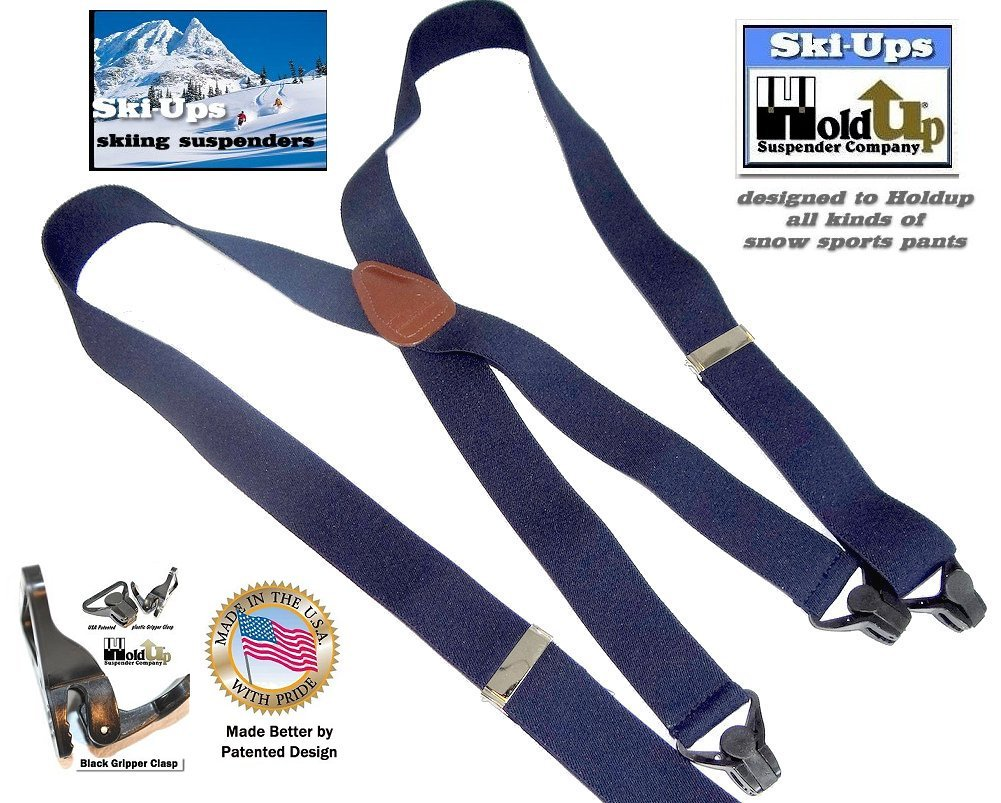 HoldUp All Black Snow Ski-Ups Suspenders in 1 1/2'' width with Patented black Gripper Clasps in X-back style by Hold-Up Suspender Co. (Image #6)