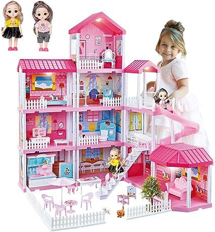 Girls Barbie House Dollhouse Playset Portable Kids Toys Pretend Play Set Ages 3