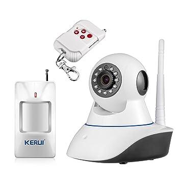 KERUI – IP cámara IP HD WiFi Intrusion IR Movimiento Detector casa seguridad PIR, sistema