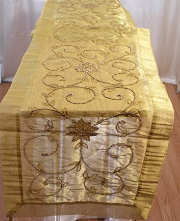 Elegant Beaded Sheer Table Runner Indian Table Topper Lg 16u0026quot;x110u0026quot; ...