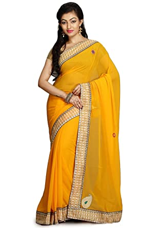 f5eb1e6c58 Rajasthani Look Women's Plain Georgette Saree in Yellow: Amazon.in:  Clothing & Accessories