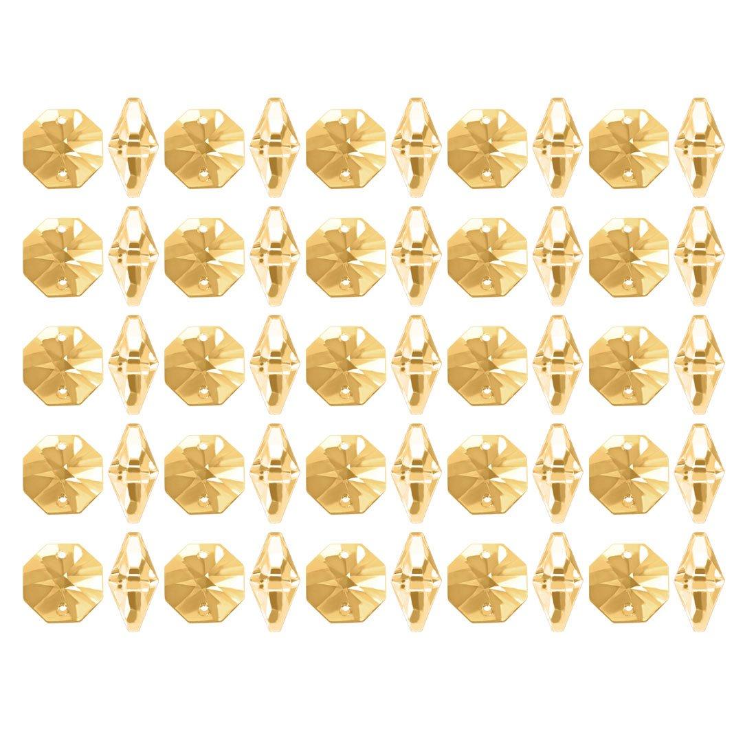 Amazon com: uxcell 50Pcs Crystal Glass Beads Amber Octagonal