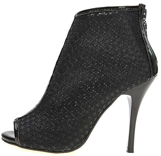 Women Peep Toe Evening Booties Pentagram Star Cutout Dress Sandal High Heels Ankle Boots