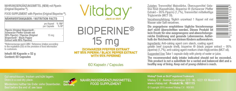 Bioperine - 15 mg - 60 cápsulas: Amazon.es: Salud y cuidado ...