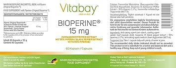 Bioperine - 15 mg - 60 cápsulas: Amazon.es: Salud y cuidado personal