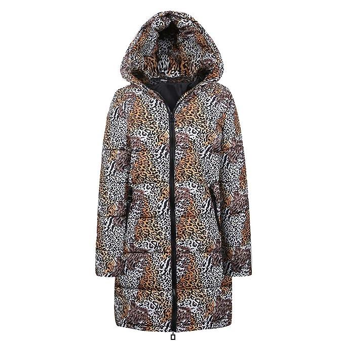 Elegante Invierno Leopardo Acolchada Animal Print Fiesta Frio Extremo Plumas Fina Forro Pelo Ultra Caliente (
