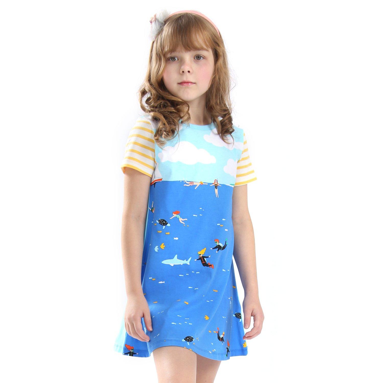 Mrsrui Little Girls Cotton Dress Short Sleeves Casual Summer Shirt Blue by Mrsrui