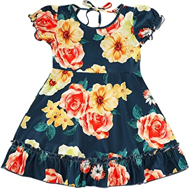 Loveble Summer Baby Girls Floral Flower Printed Cotton Blend Breathable and Sleeveless Dress