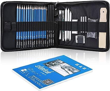 35 lápices de boceto con cuaderno de dibujo, juego de dibujo profesional para niños, tendencias y adultos, kit completo de artista incluye lápices, gomas de borrar, pastel, un estuche práctico, etc.: Amazon.es: