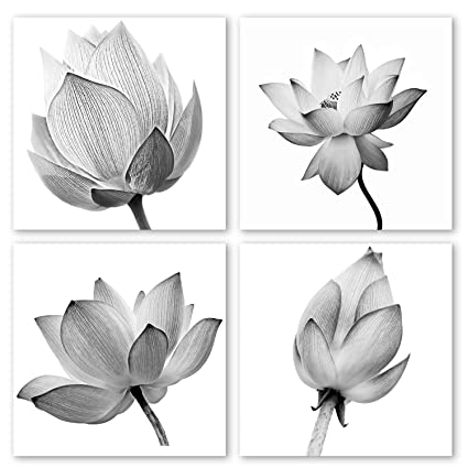 Vvovv Wall Decor 4 Panels Flowers Artwork Black And White Elegant Floral Canvas Art Print Blooming Lotus Picture Framed Water Lily Wall Art Painting