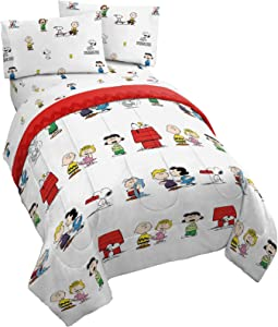 Peanuts Best Friends 5 Piece Queen Bed Set - Includes Reversible Comforter & Sheet Set - Bedding Features Snoopy & Charlie Brown - Super Soft Fade Resistant Microfiber (Official Peanuts Product)