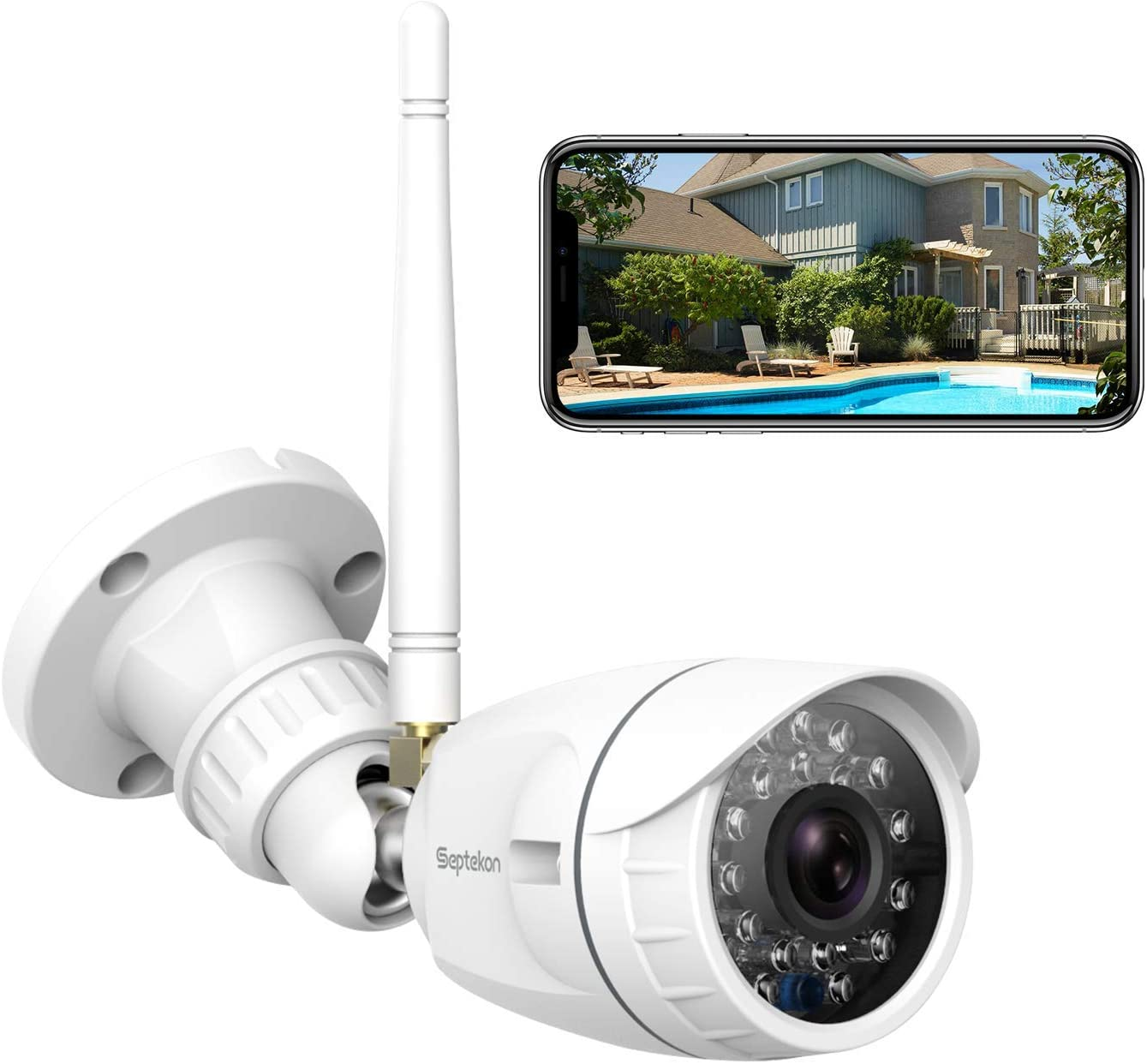 Outdoor Security Camera, Septekon 1080P Home Wireless WiFi Surveillance Camera with IP66 Waterproof, Night Vision, Motion Detection, Remote Access, Compatible with Alexa-S40