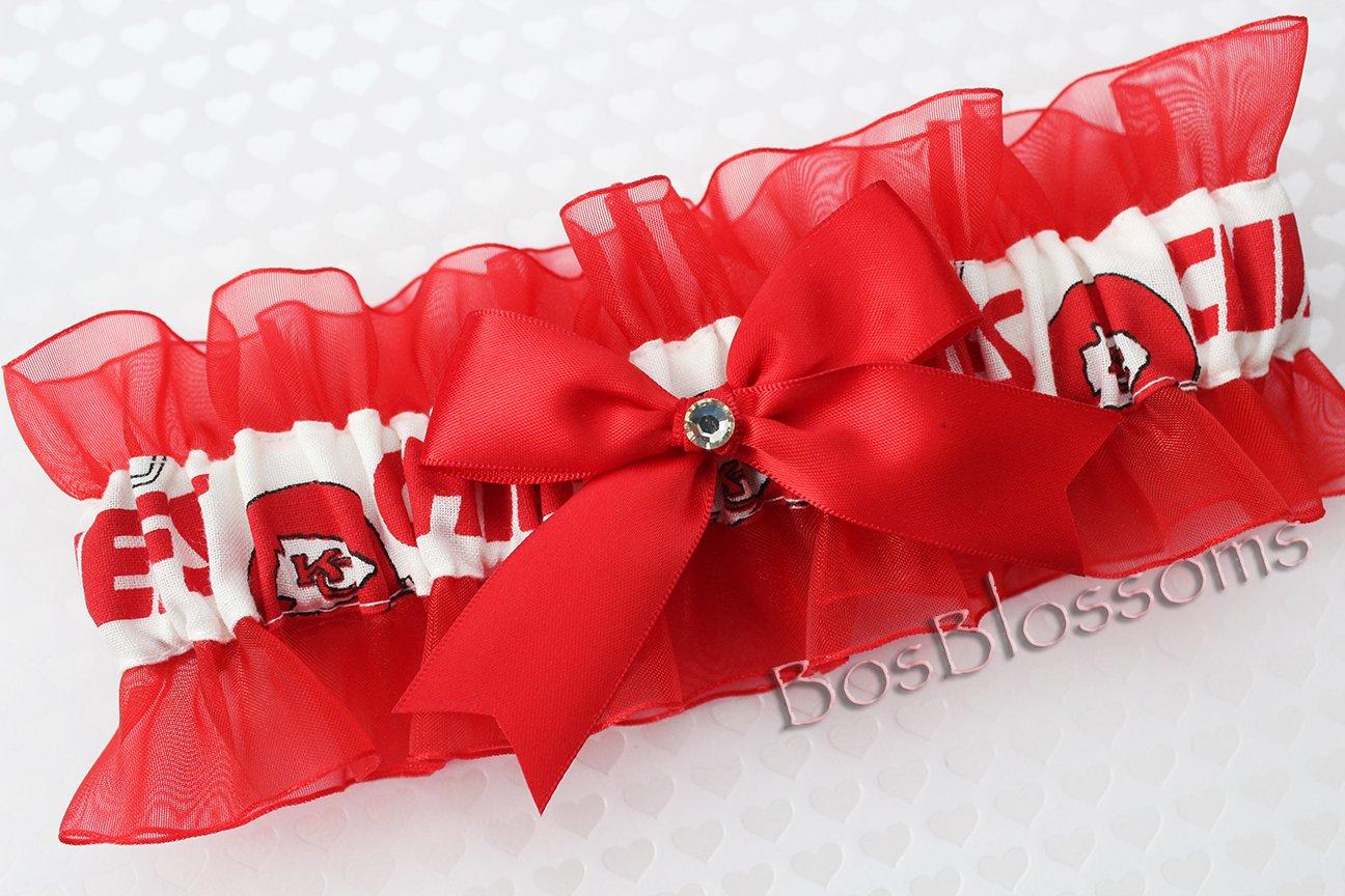 Customizable - Kansas City KC Chiefs white fabric handmade into keepsake garter on red organza bridal prom wedding garter with bow wks