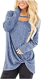 ZEFOTIM Women Stripe Casual Color Block T-Shirt Ladies Loose Long Sleeve Top Blouse(X-Large,B-Blue)