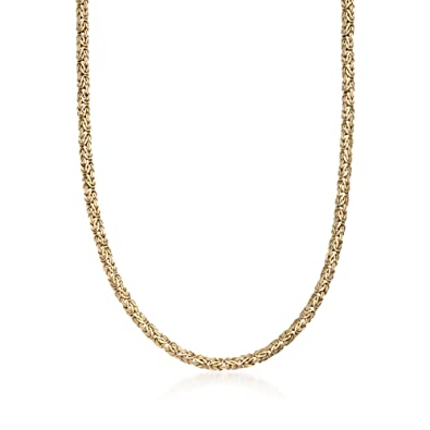 b020792e2445d Amazon.com: Ross-Simons 4mm 14kt Yellow Gold Byzantine Necklace: Jewelry
