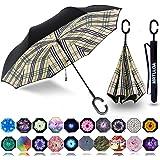 MRTLLOA Double Layer Inverted Umbrella with C-Shaped Handle, Anti-UV Waterproof Windproof Straight Umbrella for Car Rain…