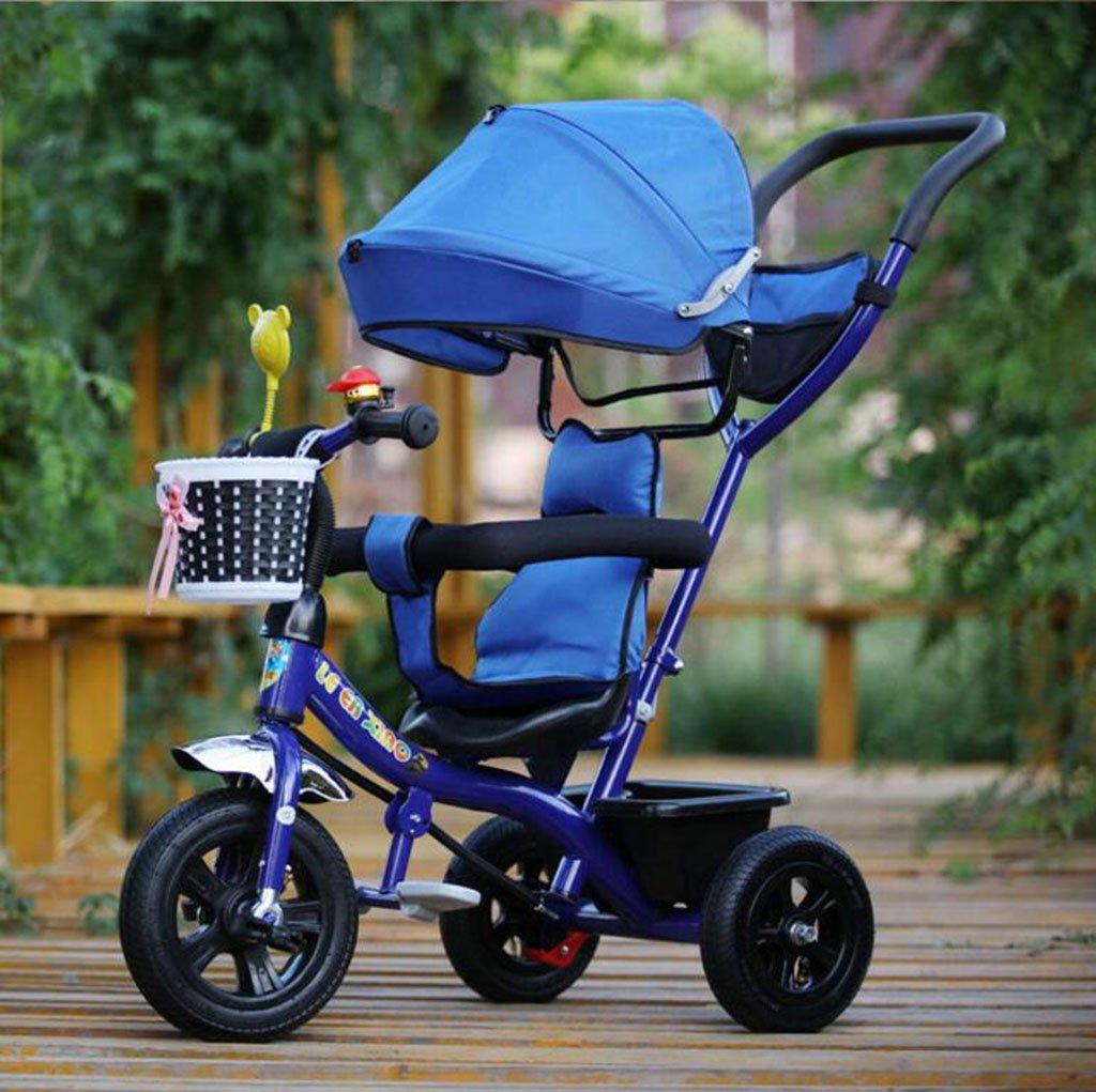 WF-BIKE Bicicleta de bebé Cochecito de Triciclo para niños / 1-3-5 años Cochecito de bebé Cochecito de bebé Morado Azul Rojo Verde Rosa (Color : Azul, Tamaño : 1-Space Wheel)