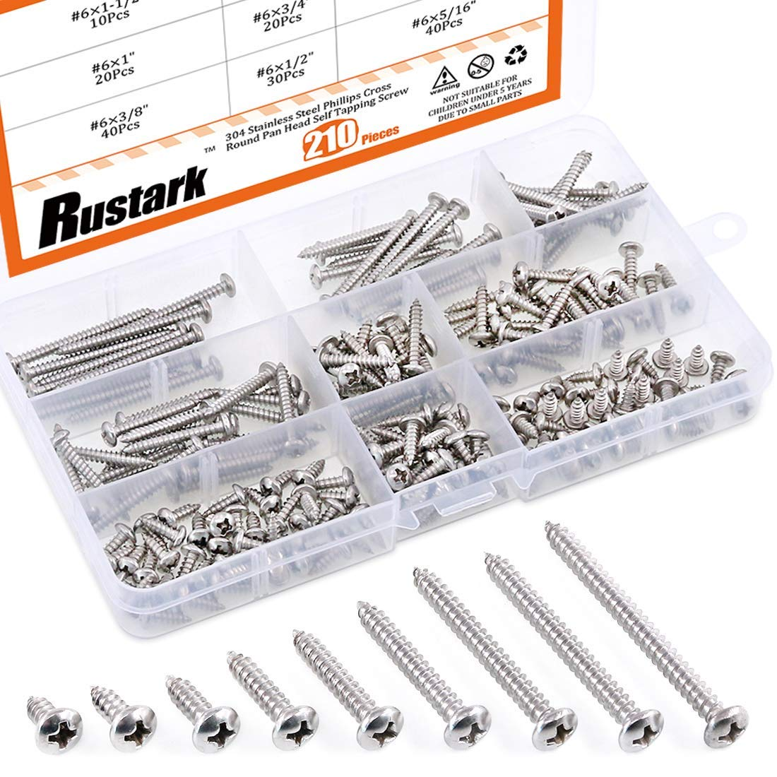 #10 3//8 to 1-3//4 Rustark 150Pcs 304 Stainless Steel Flat Head Phillips Cross Wood Screw Self Tapping Drilling Screws Assortment Kit