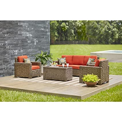 Hampton Bay Laguna Point 4 Piece Brown All Weather Resin Wicker Patio Deep  Seating