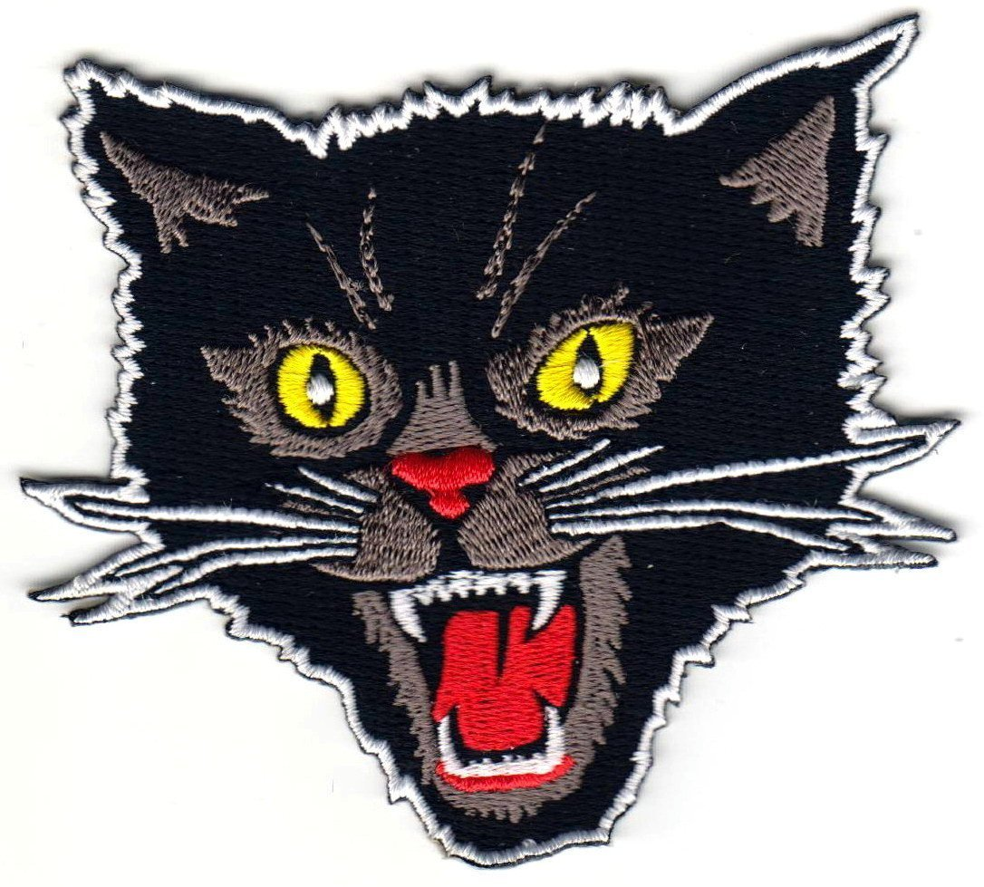 HHO Black Screaming Cat Rockabilly Horror Tattoo Goth Punk Patches, Cute Applique Sew Iron on Kids Craft Patch for Bags Jackets Jeans Clothes