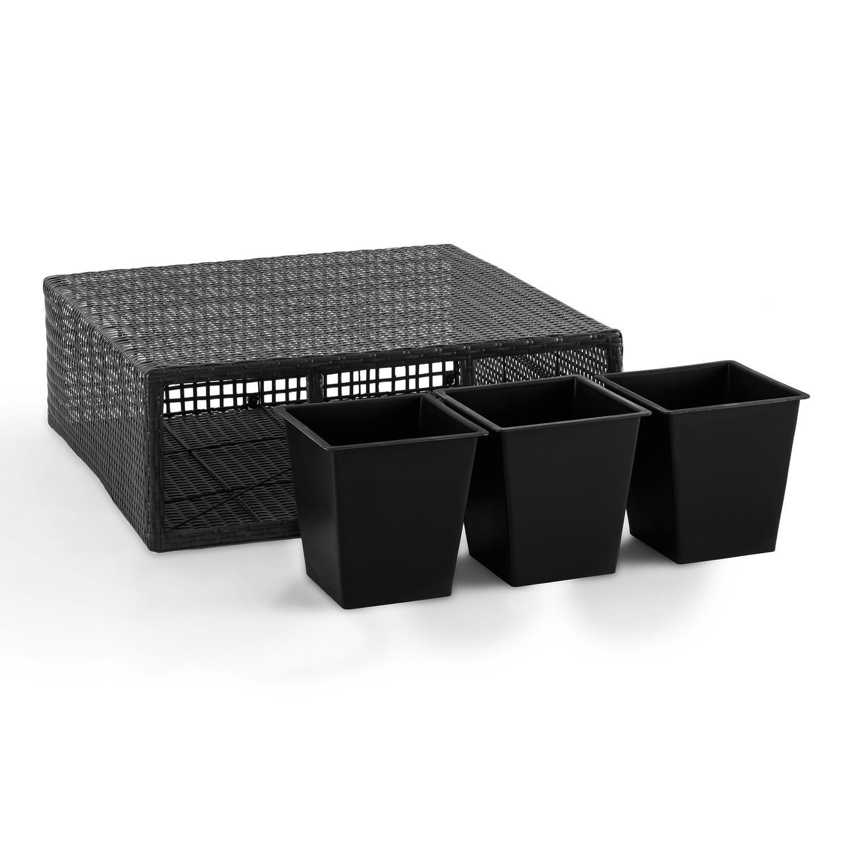 Blumfeldt Triumflor Hydro macetero para tres plantas 80x78x29 cm con riego automático (Tiesto para 3X planta poliratán, sistema regado integrado, ...