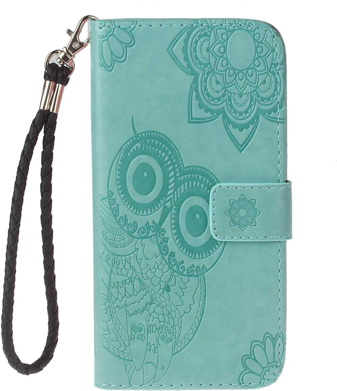 DENDICO - Carcasa para iPhone 7 Plus / 8 Plus, con Tapa y Tarjetero, Piel magnética, función Atril, diseño de búho