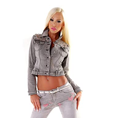 Damen Jeansjacke Strass   Perlen Nieten Taillen Jacke Blazer Designer Italy  Style grau XXL 01cc689a35