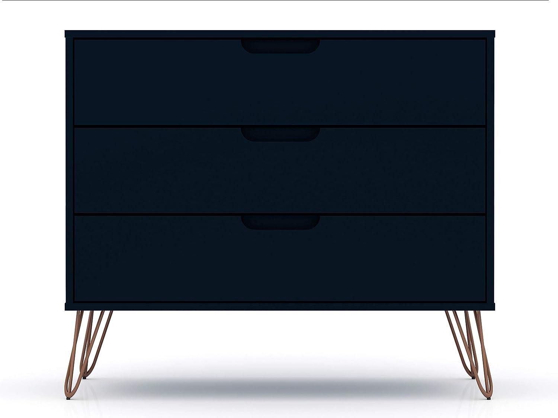 "Manhattan Comfort Rockefeller Mid-Century Modern 3 Drawer Bedroom Dresser, 35.24"", Midnight Blue"