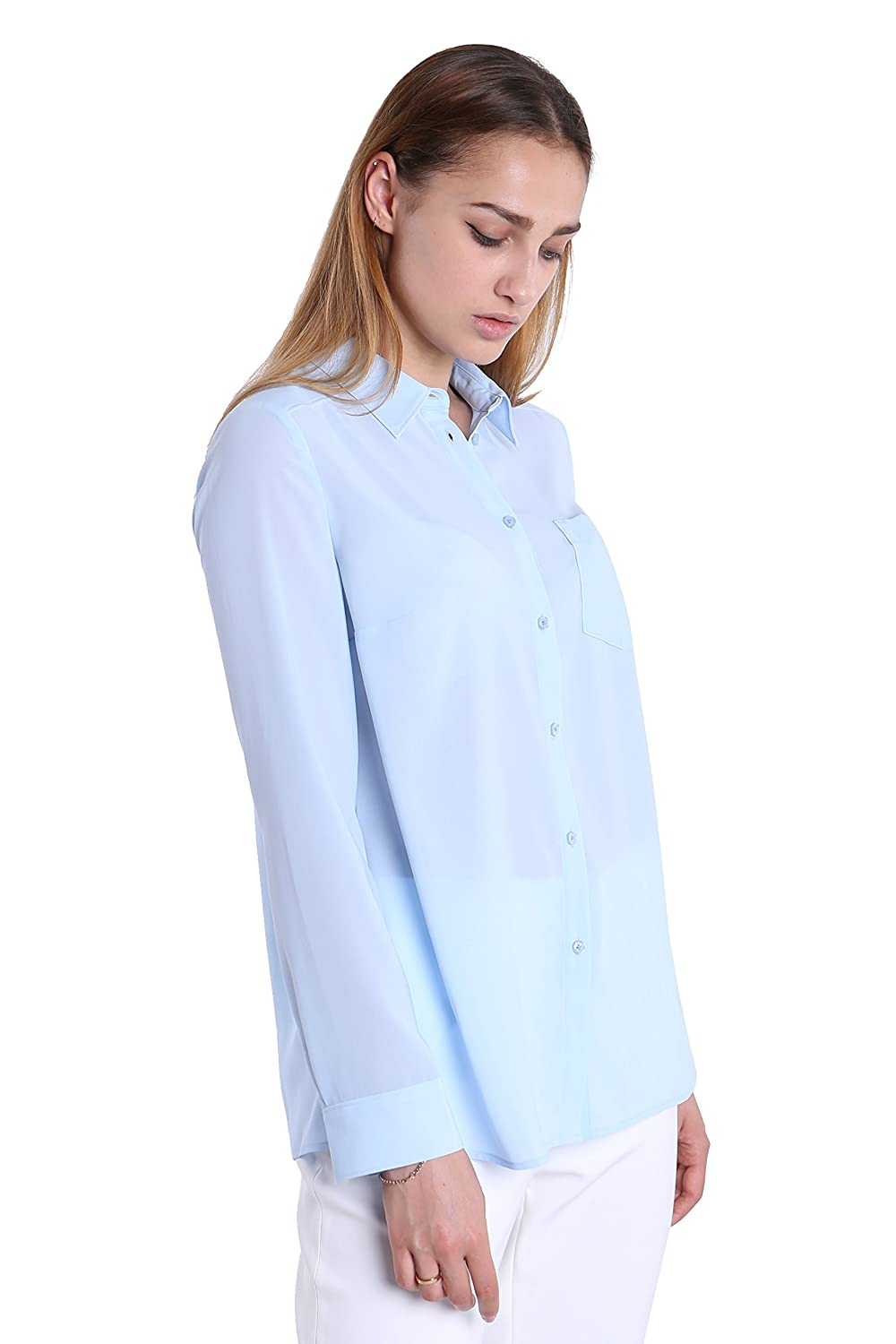 9ad82f21123cf Fyriona Women s Button Down Shirt Chiffon Blouse Basic Long Sleeve at  Amazon Women s Clothing store