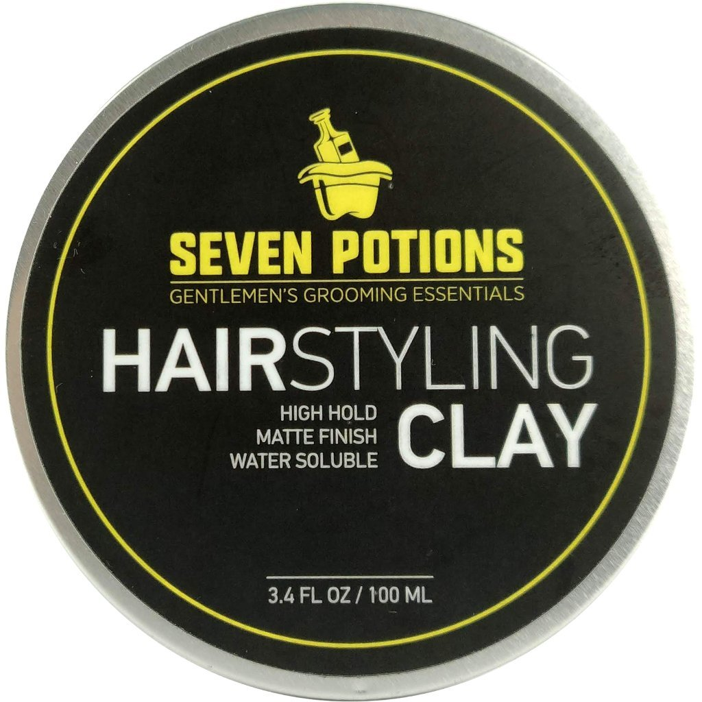 Hair Styling Clay For Men 3.4 fl oz - Matte Finish - High Hold - Water Based - Natural, Organic, Vegan, Cruelty Free by Seven Potions