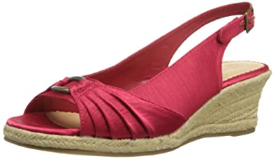 Womens Seraphina II Espadrille Wedge Sandal, Red Silk, 9.5 2W US Bella Vita