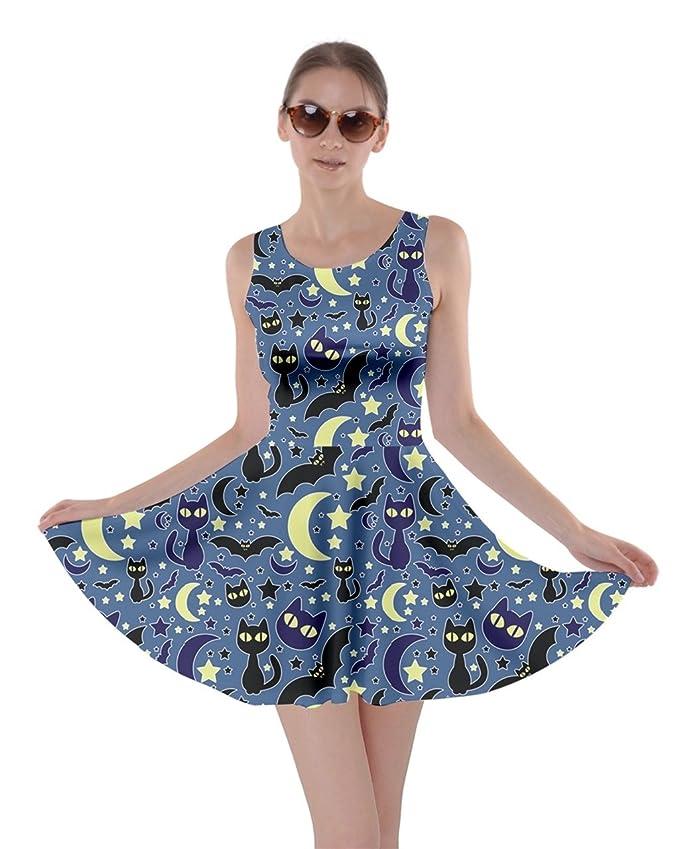 CowCow Womens Blue Cute Night Bats Cats Skater Dress, Halloween Cats - 2XL