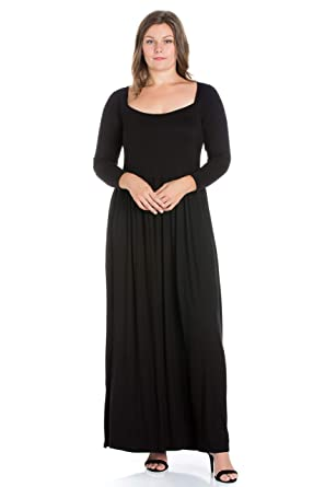 f2c1470280a 24seven Comfort Apparel Plus Size Clothing for Women Long Sleeve Empire  Waist Maxi Dress - Made