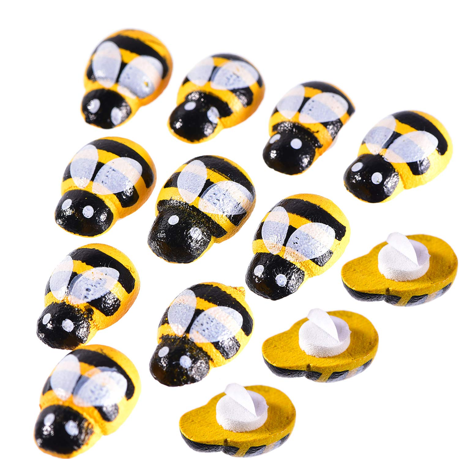 Frienda 150 Pieces Tiny Wooden Bee Embellishments Painted Flatback Wood Bumble Bee Pieces with Adhesive and Velvet Bag for Craft Decoration Scrapbooking DIY 4336983832