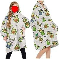 Draagbare deken Sweatshirt Hoodie voor vrouwen en mannen meisje jongen oversized dubbele fleece pluche cartoon capuchon…