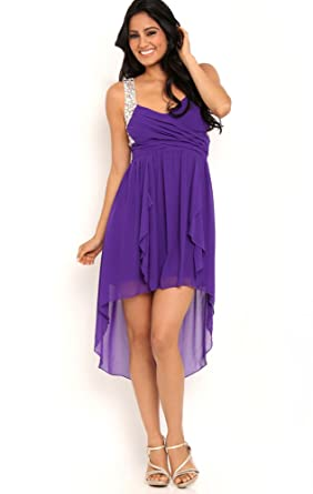Deb Junior High Low Prom Dress with Illusion Stone Back Purple 13