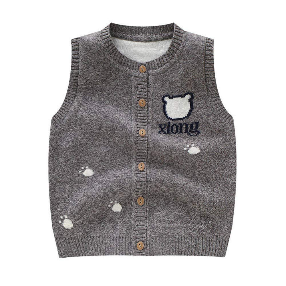Bear Baby Sweater Vest Kids Boys Girls Button Closure Sleeveless O-Neck Pullover Cotton Blended Toddler Outfit Coat