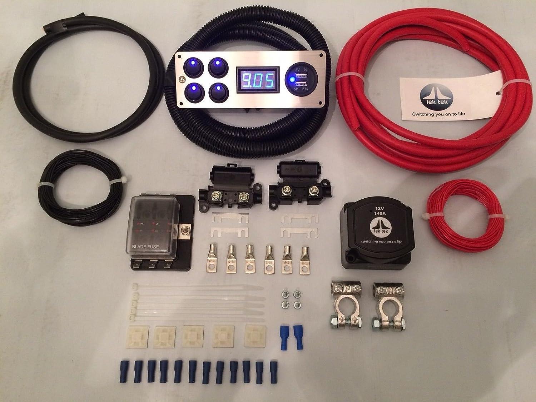 Lek Tek Ford Transit 140A Split Charge Kit incluant tous les raccords et de qualité 12V Panneau
