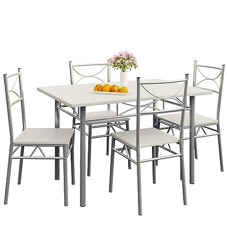 Deuba Conjunto de Cocina Paul de Color Blanco Set de 1 Mesa y 4 sillas Modernas y Repelente al Agua Comedor