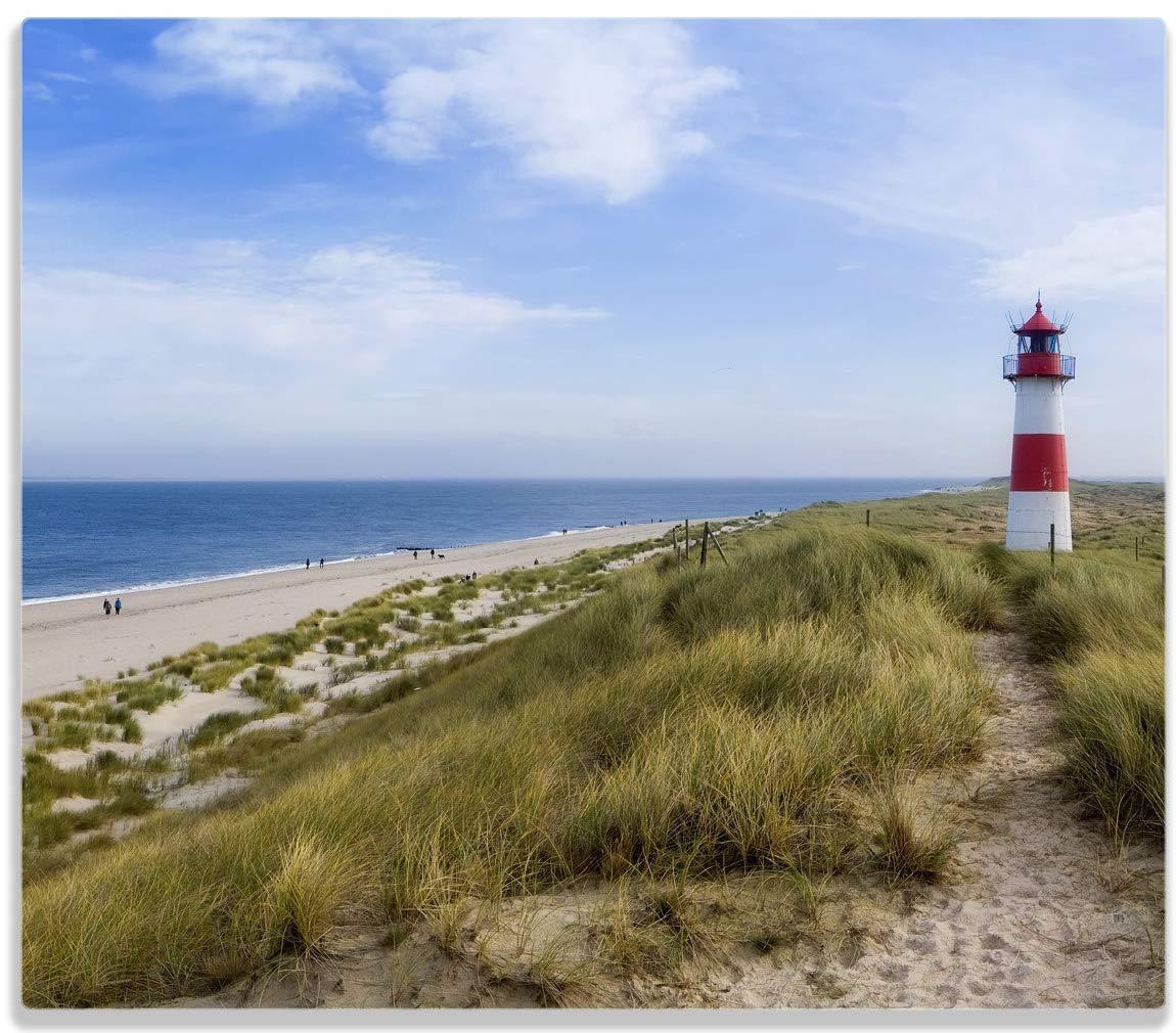 Wallario Herdabdeckplatte/Spitzschutz aus Glas, 1-teilig, 60x52cm, für Ceran- und Induktionsherde, Am Strand von Sylt, Leuchtturm auf der Düne, Panorama Leuchtturm auf der Düne posterdepot