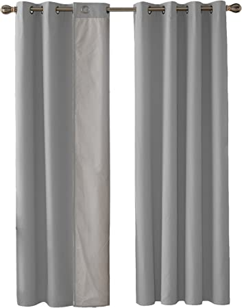 Deconovo Double Layer Oxford Thermal Insulated Curtains with Silver Lining Eyelet Curtains Light Reflecting Curtains for Bedroom Light Grey 46x54 Inch 2 Panels