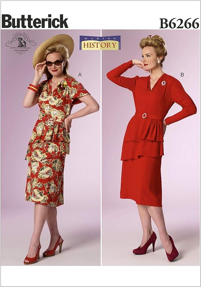 1940s Sewing Patterns – Dresses, Overalls, Lingerie etc Butterick Patterns 6266 E5Misses CostumeSizes 14-16-18-20-22 £8.00 AT vintagedancer.com