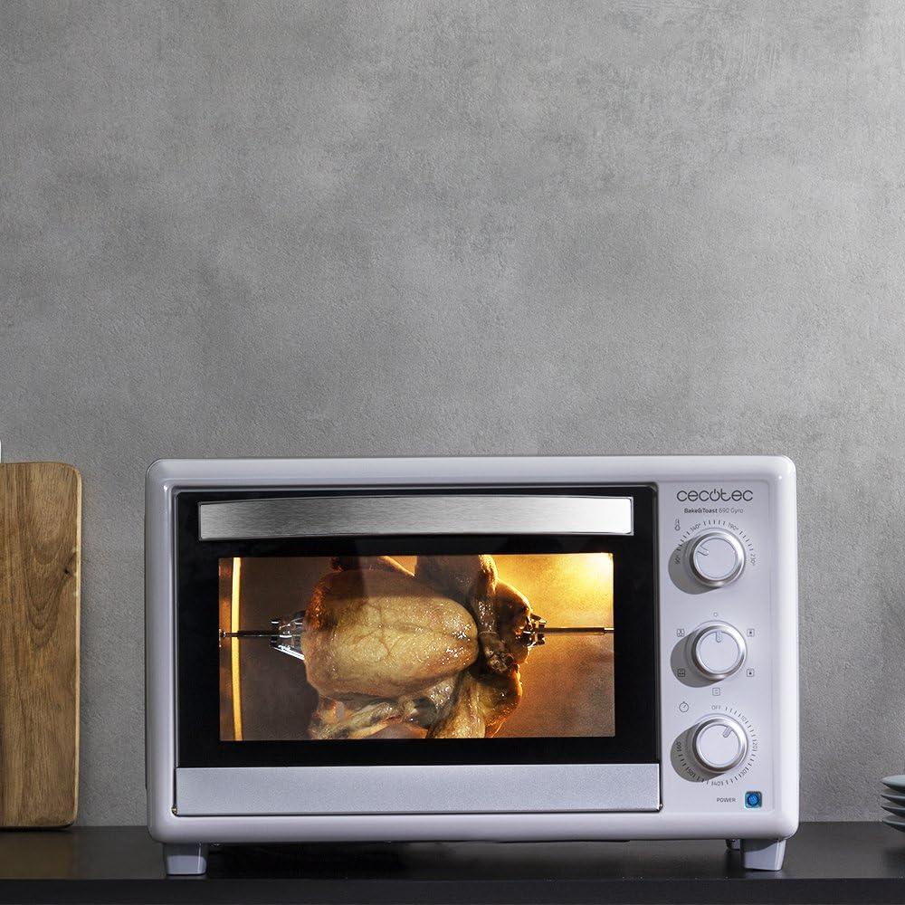 Cecotec Horno Conveccion Sobremesa Bake&Toast 690 Gyro. Capacidad de 30 litros, 1500 W, 5 Modos, Temperatura hasta 230ºC y Tiempo hasta 60 Minutos, Incluye Accesorio Rustidor con pinzas: Amazon.es: Hogar
