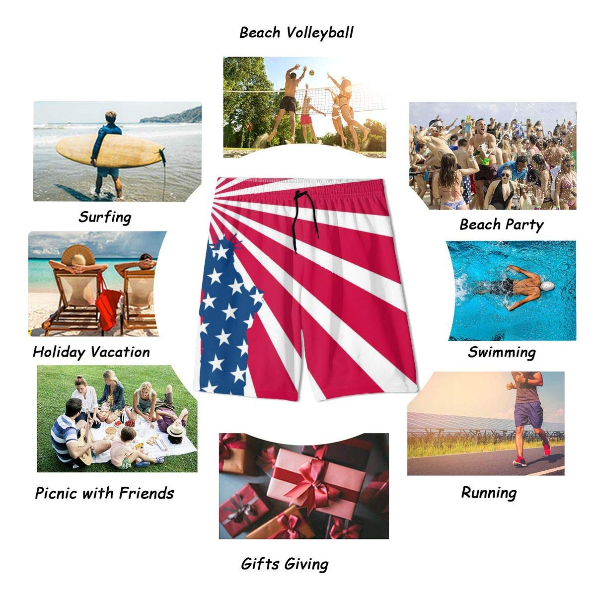 USA Flag Statue of Liberty Boardshort Quick Dry Swim Trunks 3D Printed Non-Fading Tropical Short Durable
