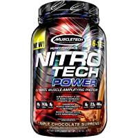 Protein Powder + Creatine Monohydrate + Testosterone Booster for Men | MuscleTech Nitro-Tech Power | Whey Protein Powder…