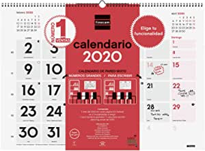 Finocam - Calendario de pared 2020 XL Mixto - Escribir/Números Grandes español: Amazon.es: Oficina y papelería