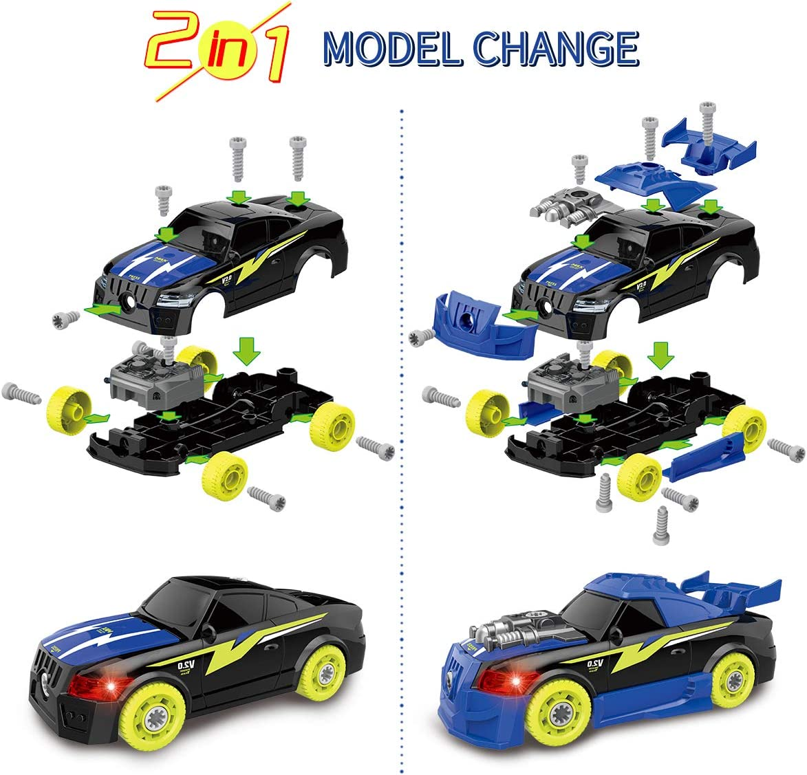 STEM Learning Toys with Lights and Sounds for Age 2 3 4 5 6 Year Old Girls Boys DIY Assembly Car Toys with Electric Drill Tool 26 Pic Building Play Set Sciencow Take Apart Racing Car