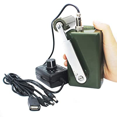 HUABAN Hand Crank Generator High Power Charger for Outdoor Mobile Phone Computer Charging 30W / 0-28V with USB Plug (Green Generator + DC Regulator) : Garden & Outdoor [5Bkhe2008818]