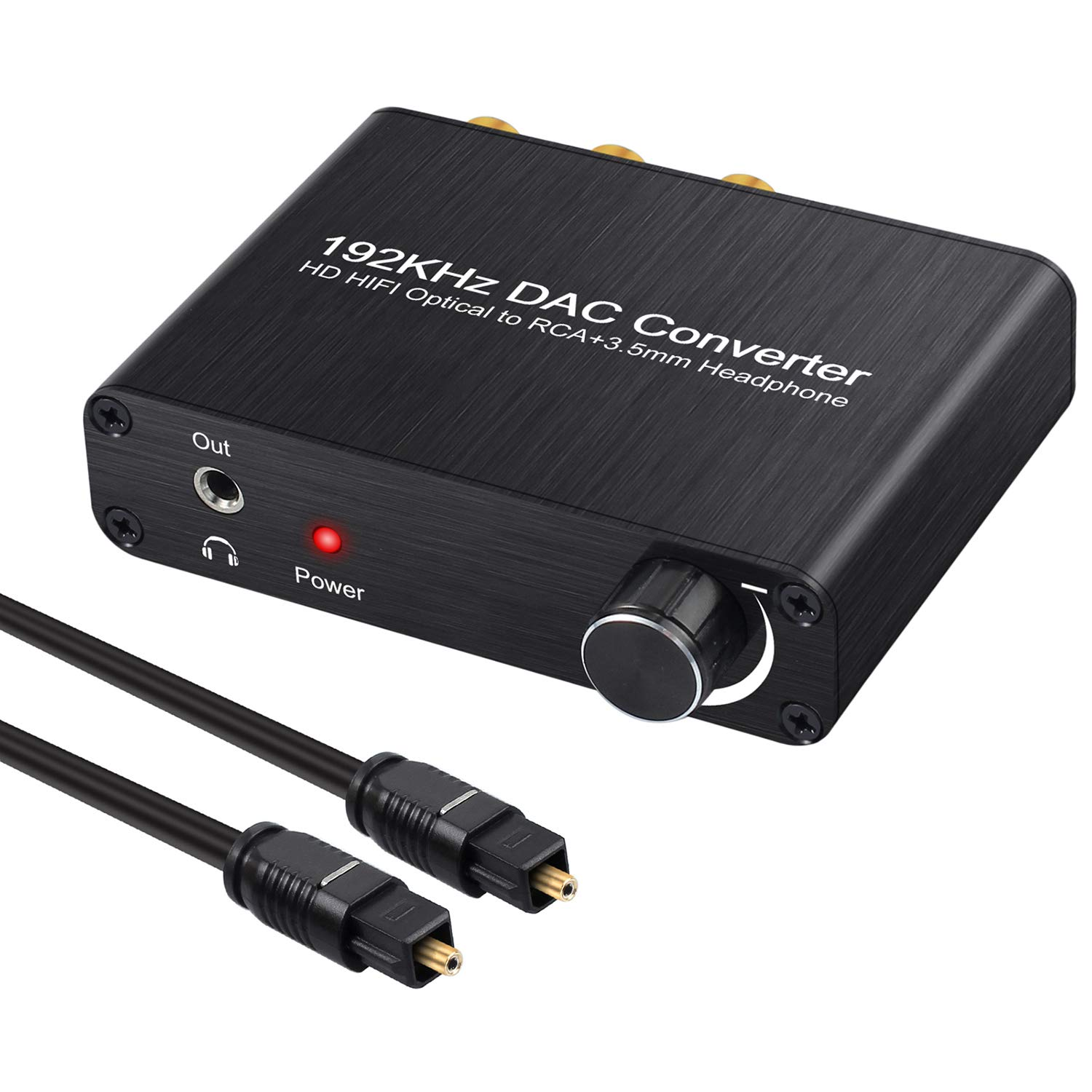 Neoteck 192kHz Digital to Analog Audio Converter with Volume Knob Support DTS/Dolby AC3 5.1CH Digital SPDIF Coaxial Toslink to Analog Stereo Left/Right RCA + 3.5mm Jack Audio Converter
